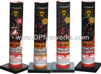 Fireworks - Single Shot Aerials - these pre-loaded artillery shells produce the biggest bursts available. - No. 500 Single Shot Tube - Assorted Effects, Red peony to crackle, Silver willow, Brocade to red, Red ring w/ blue bowtie