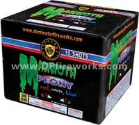 Fireworks - Maximum Load 500g Cakes - Our top selling fire works - MAMMOTH PEONY-RED, WHITE, BLUE