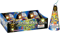 Fireworks - Cones or Cone fountains are a type of Fire Work that spray colorful sparks and often loud crackling sparks. - 6in Little Boss Cone Fountain