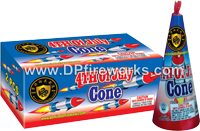 Fireworks - Cones or Cone fountains are a type of Fire Work that spray colorful sparks and often loud crackling sparks. - 8in 4TH Of July Cone Fountain